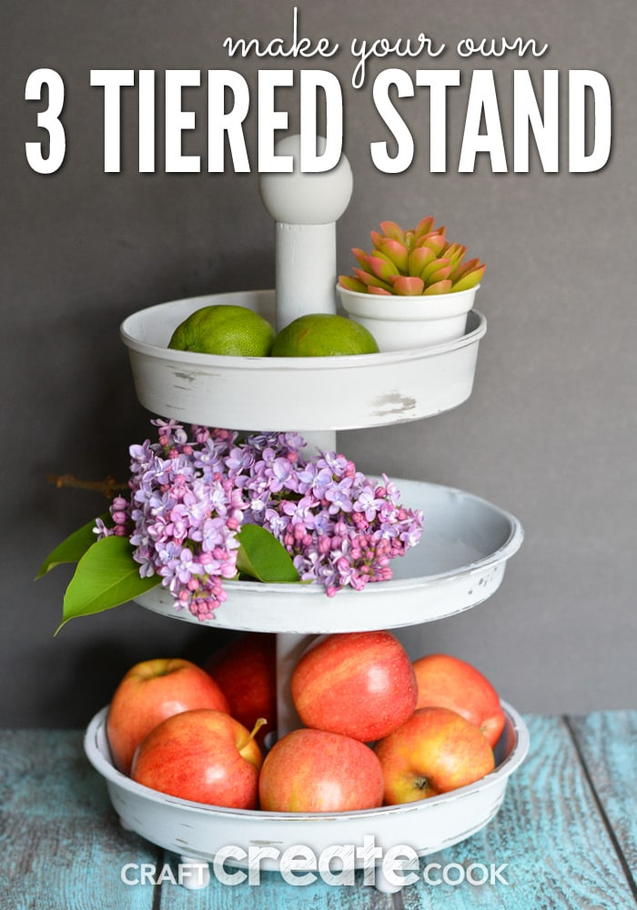 This knockoff Pottery Barn 3 Tiered Stand will look gorgeous in your home!