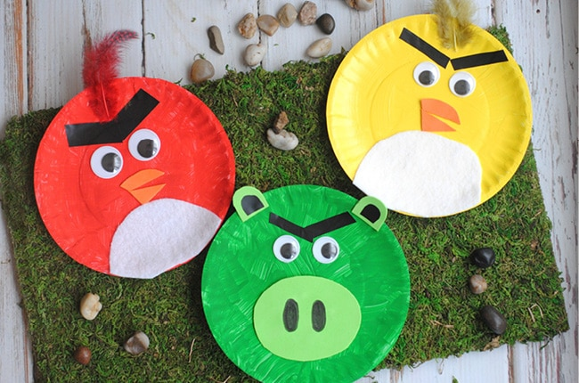 Kids will love this easy and cute Angry Birds paper plate craft! & Craft Create Cook - Angry Birds Paper Plate Kids Craft - Craft ...