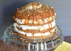 This banana cake looks complicated, but it's very easy to make! Start with a box cake mix and you've got it!