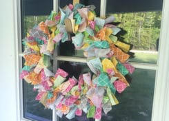 This rainbow rag wreath is attractive and simple to make!
