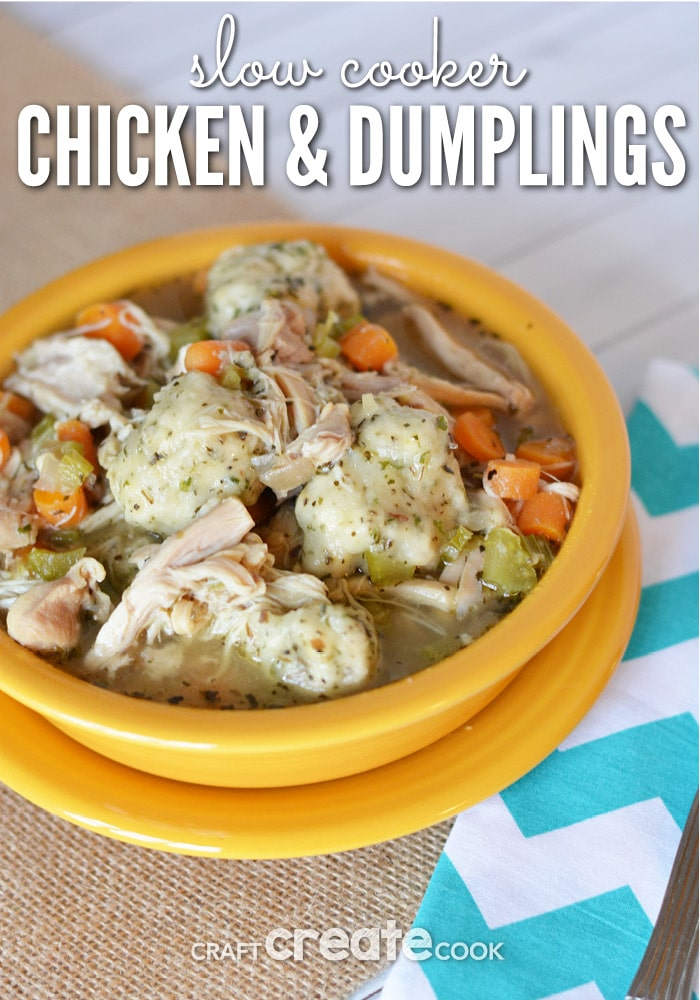 You'll be glad you tossed this Chicken and Dumplings recipe into the slow cooker!