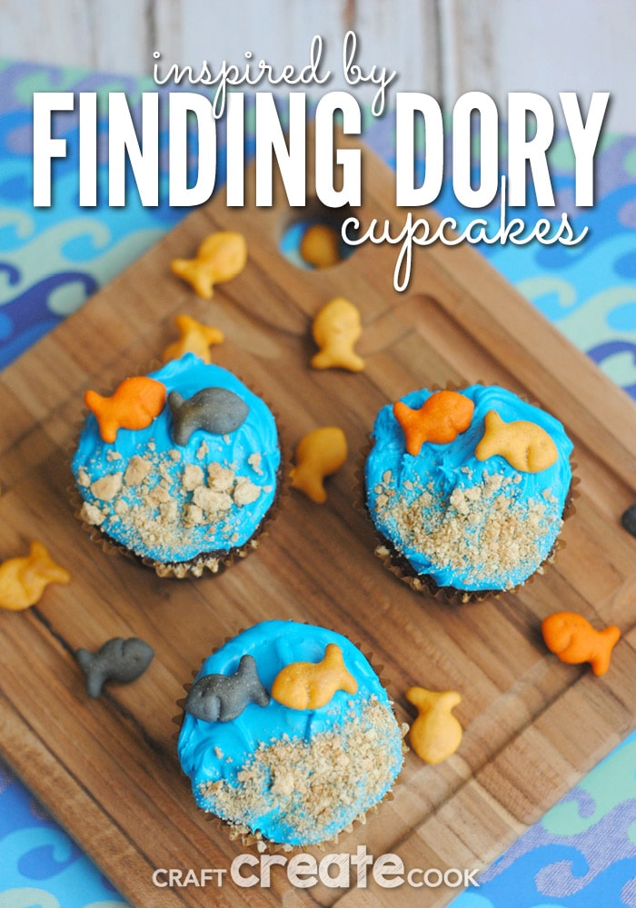 Your kids will love these adorable Finding Dory cupcakes!