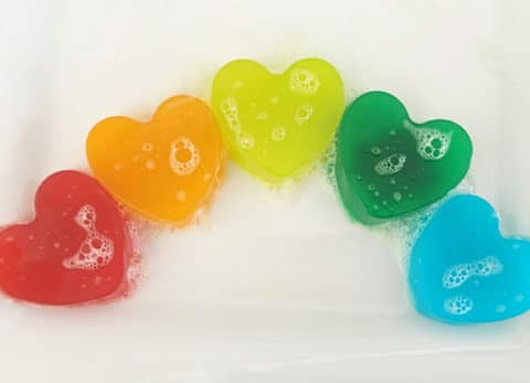 If your looking to make your regular ol' shower routine a little more exciting, then you'll want to make these Rainbow Shower Jellies!