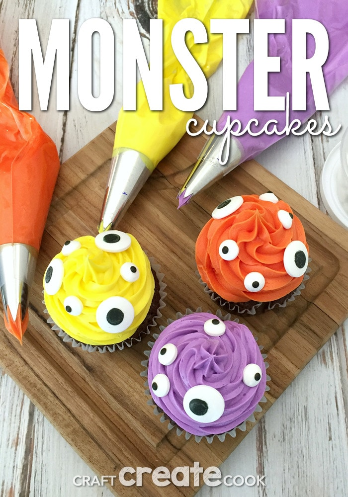These cute Halloween monster cupcakes are easy and scary good