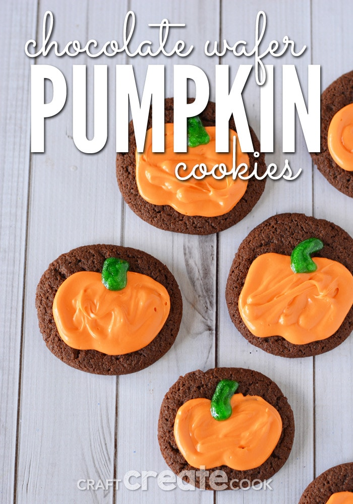 Chocolate wafer pumpkin cookies that are crispy and rich with chocolate to satisfy your sweet tooth