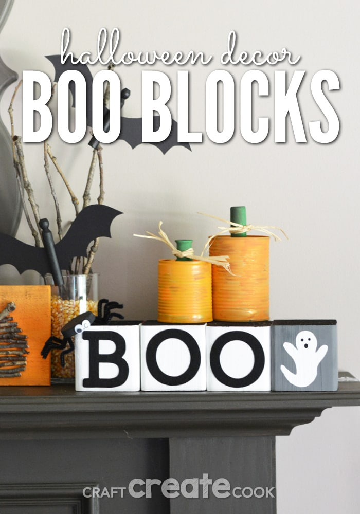 If you're looking for easy and cute Halloween decorations for your home, these BOO Blocks will fit in flawlessly with your decor.