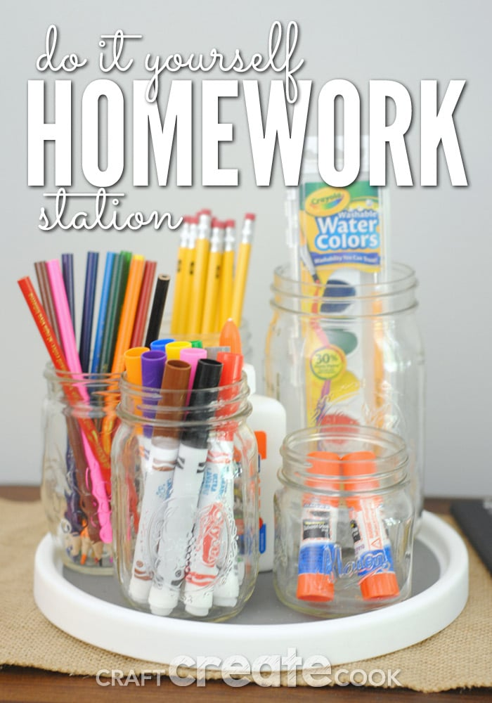 This fun DIY and easy DIY homework station will help not only help keep your kids on task after school but will also look great!