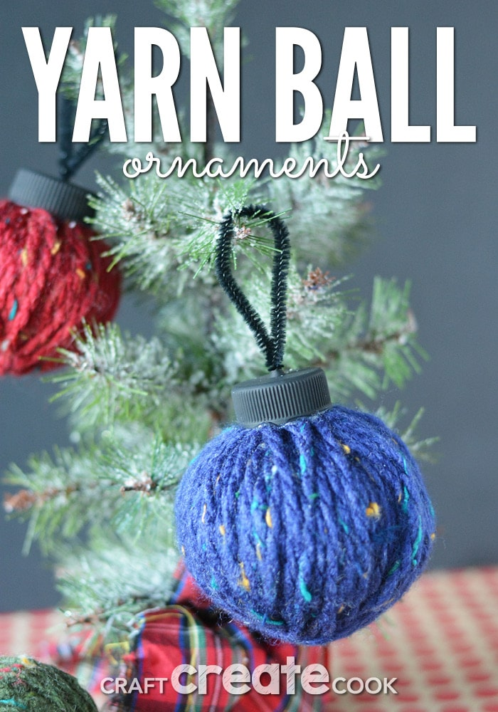 Reuse plastic shopping bags and bottle caps to make these easy and affordable homemade yarn ball ornaments.