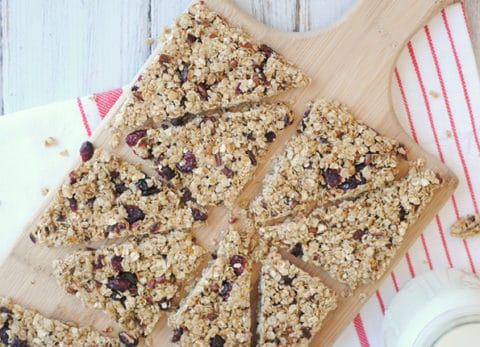 Homemade Chewy Granola Bars are easy to make and great for a grab & go breakfast or quick, healthy snack!