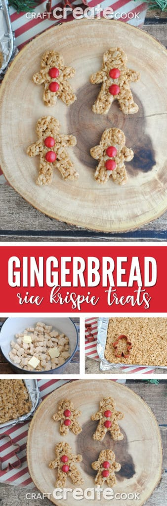 Look for a last minute Christmas treat? These Gingerbread Rice Krispie Treats are as adorable as they are delicious!