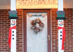 Make these easy snowman porch decorations to add to your outdoor holiday decorations.