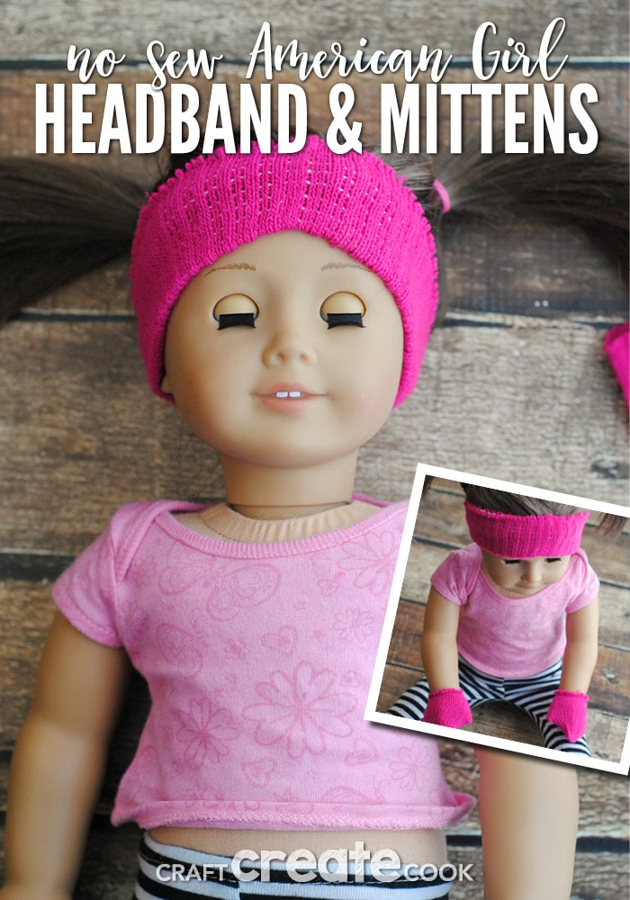 Keep your American Girl Doll warm and toasty with our No Sew Headband & Mittens!