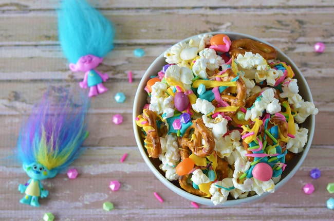 Dance Hug And Sing Your Way To Making This Troll Party Snack Mix
