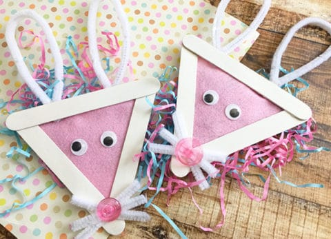This Easter Bunny Popsicle Stick Craft will be the perfect addition to the Easter Chick Popsicle Stick Craft we made last week.