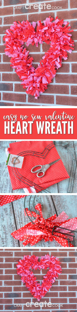 Cue up your favorite Netflix show and make this easy Valentine Fabric Wreath!