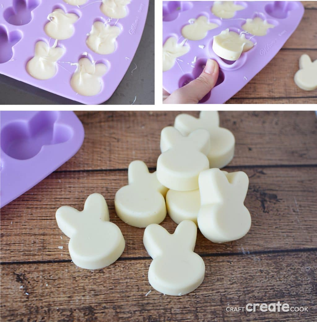 No bake white chocolate Easter bunny treats will look adorable on your Easter table!