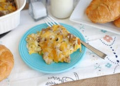This sausage & tator tot breakfast casserole is perfect for weekend mornings!
