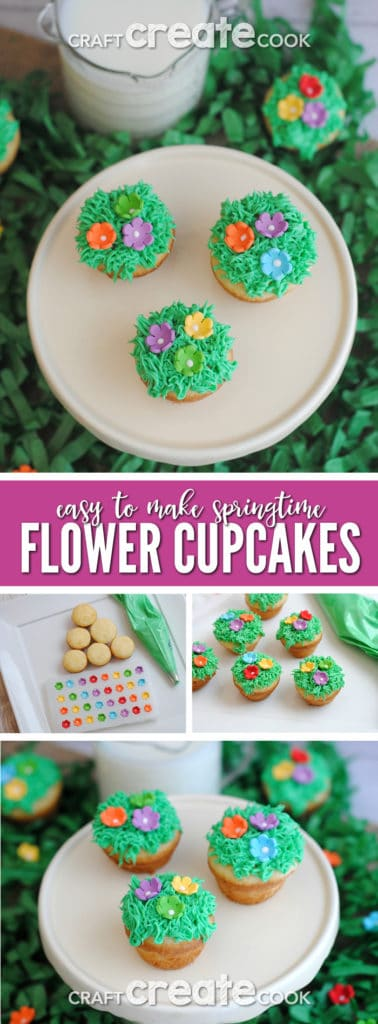 These adorable springtime flower cupcakes are the perfect way to welcome spring!