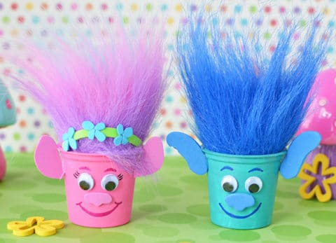 Reuse K-Cups to make Poppy and Branch Trolls Party Crafts and fill with candy!