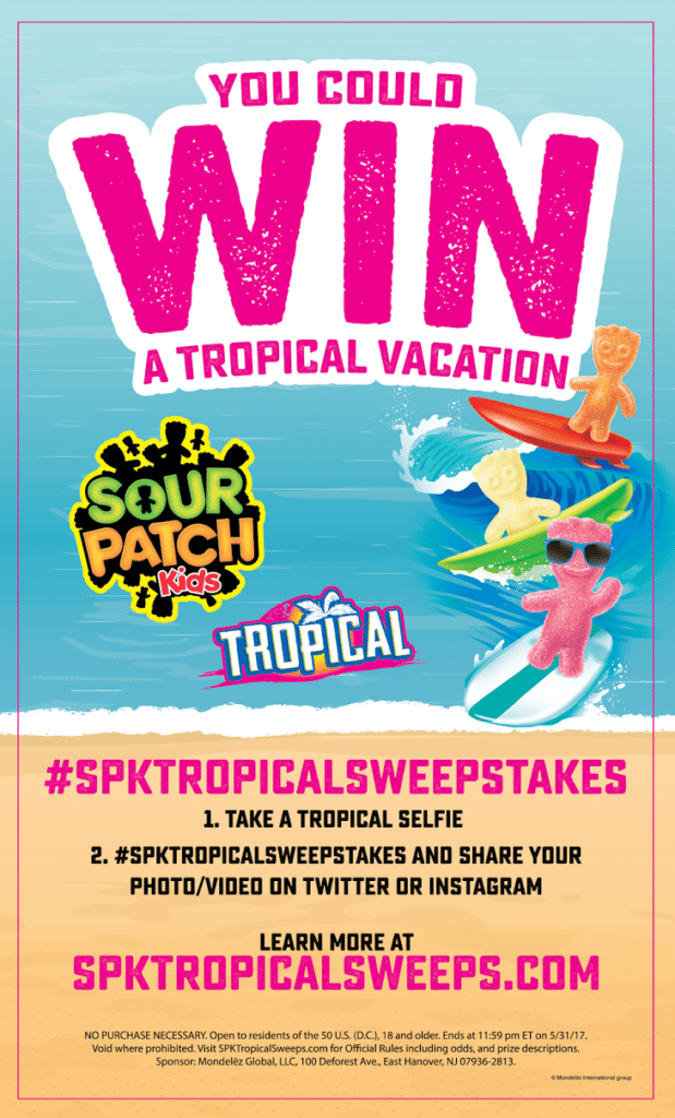 Enter to win a Tropical Vacation in the Sour Patch Kids Sweepstakes!