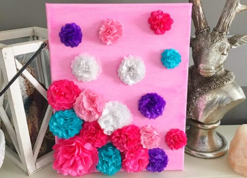 Our Tissue Paper Flower Mother's Day Canvas is a perfect DIY Mother's Day gift.