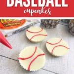 These Reese's White Chocolate Home Run Baseball Cupcakes are sure to be a big hit.