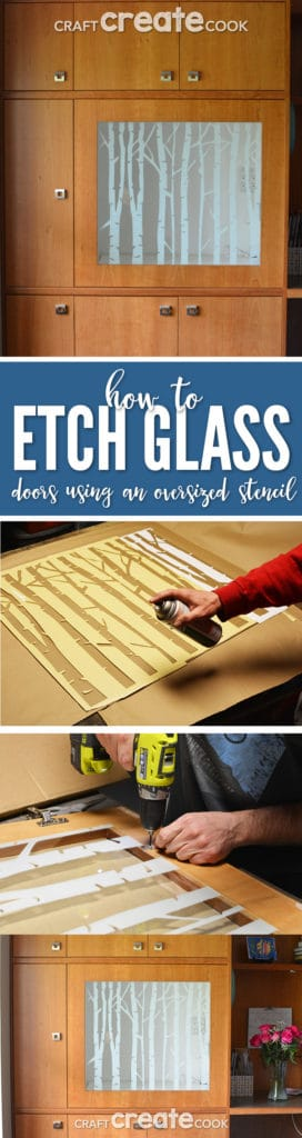 I'll show you how to etch glass door panels for your home, kitchen or office with the Silhouette cutting machine and an extra large vinyl stencil.