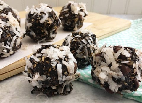 Our Dark Chocolate Coconut Almond Energy Bites are a perfect and delicious snack you can take with you anywhere.