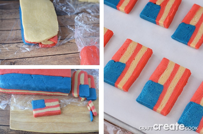 Slice and bake American Flag Sugar Cookies are easier than traditional cut-out sugar cookies!