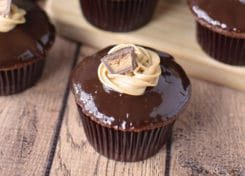 These chocolate peanut butter cupcakes have a tasty surprise inside!