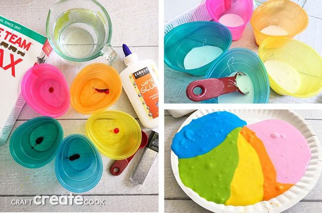 Our Glittered Rainbow Slime is easy to make and fun for the whole family to play with.