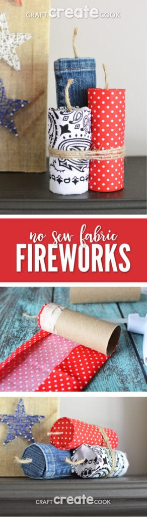 My no sew fabric firework craft is a quick and easy project to add some patriotism to your home decor.