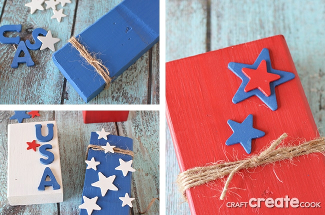 Using scrap 2x4s, you can make these simple and fun patriotic decorations for your home decor.