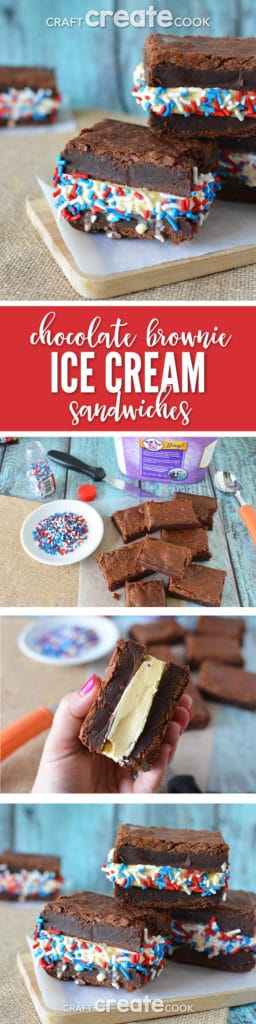 Brownie Ice Cream Sandwiches are easy to make and great for your next summer gathering.