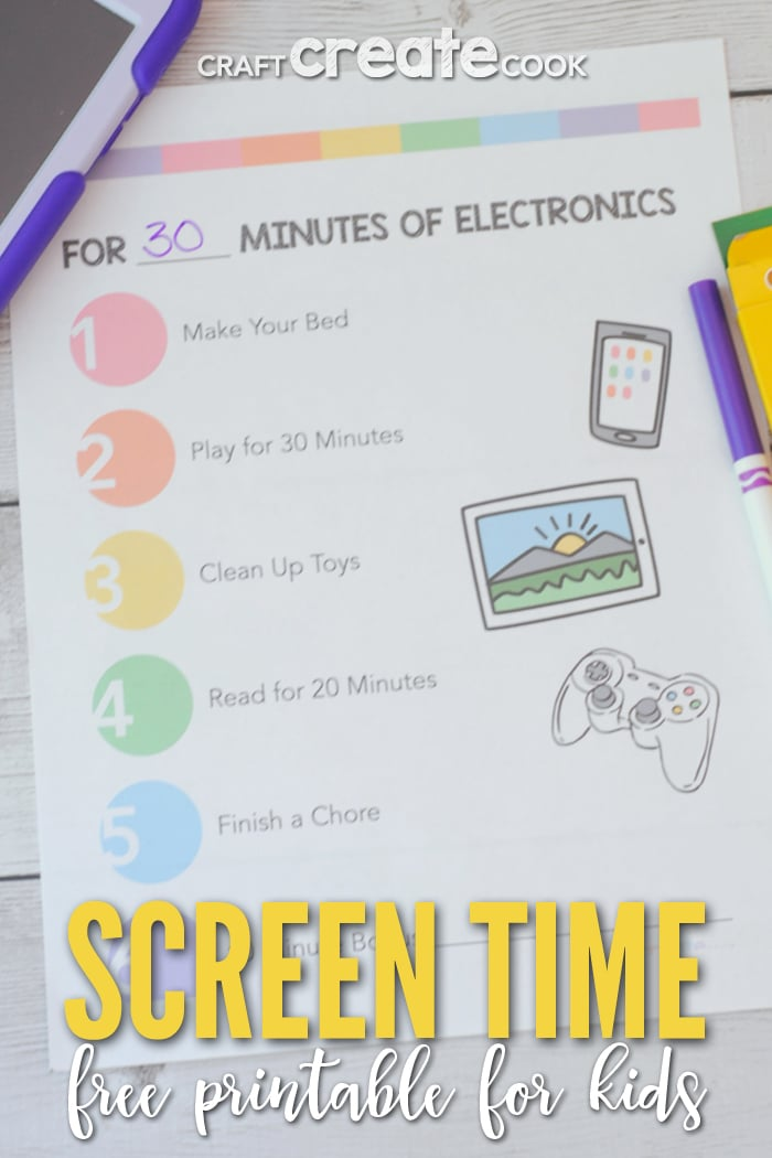 Keep your child's screen time to a minimum with our FREE Screen Time Printable!
