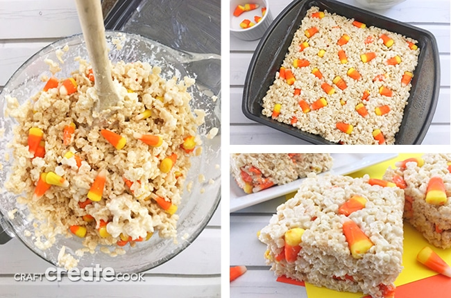 These Candy Corn Rice Krispies are a perfect way to turn already yummy Rice Krispie Treats into an amazing fall treat.