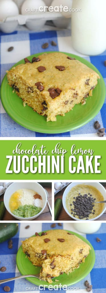 Chocolate chip lemon zucchini cake is the perfect way to use up extra garden fresh zucchini!