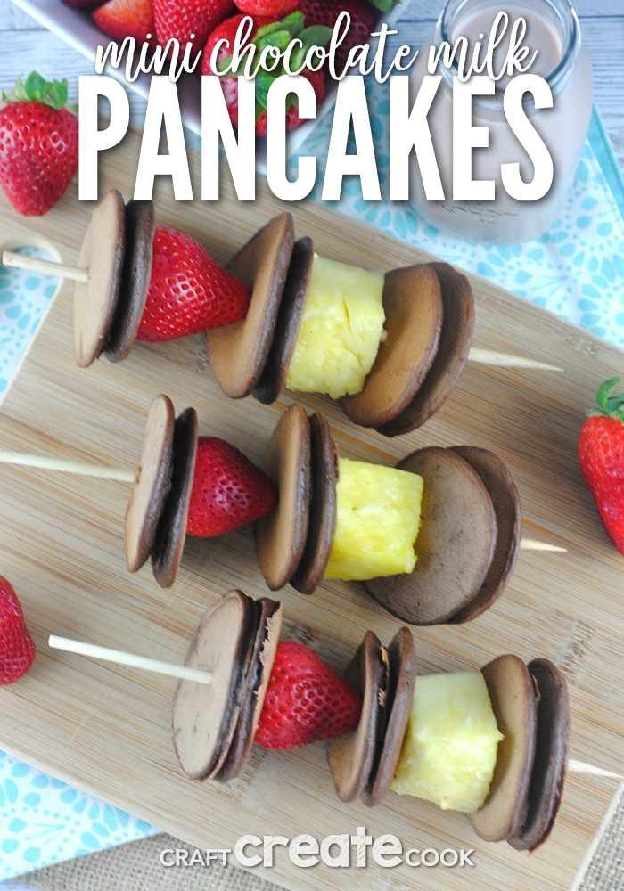 Mini chocolate milk pancakes are fun to make and eat!