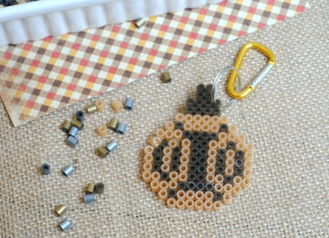 This pumpkin fuse bead keychain is easy for kids to make and perfect for fall.