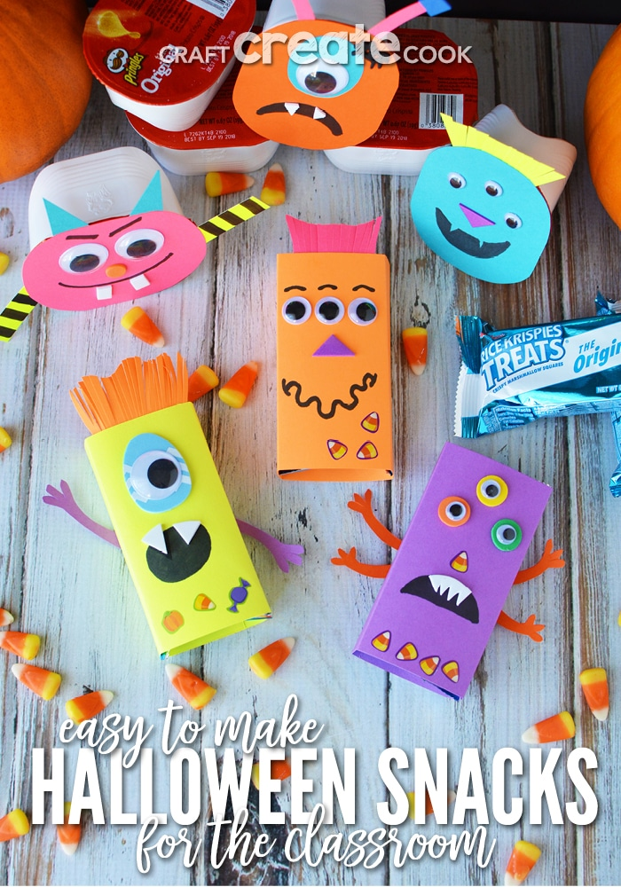 Grab the kids and make these easy monster themed Halloween snacks for the classroom!