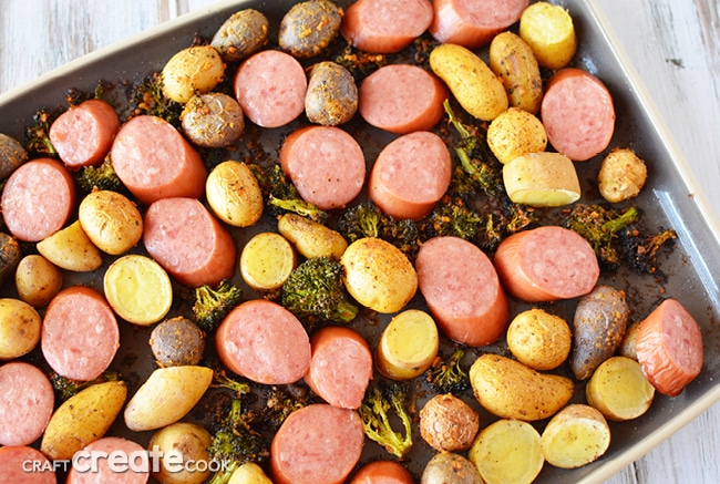 My sausage and broccoli sheet pan dinner can be on the table in less than 30 minutes!