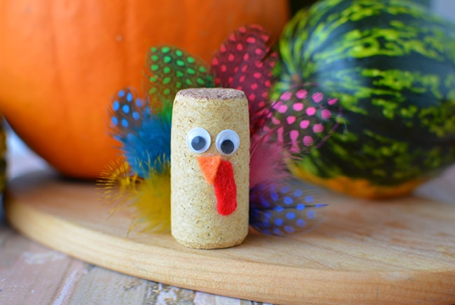 Thanksgiving turkey cork crafts look great on your holiday table or displayed on their own.