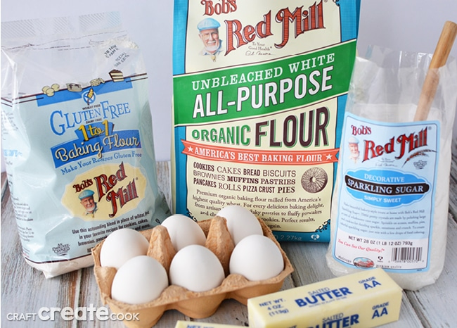 Ingredients for making gluten free slice and bake cookies for Christmas