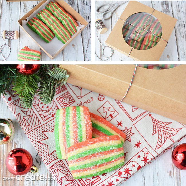 Collage image of slice and bake cookies in gift wrap for Christmas