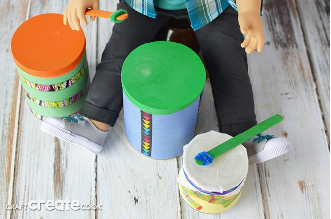 This easy-to-make American Girl Drum Set is perfect for Logan!