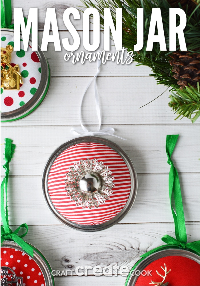Mason jar ornaments are easy to make and each one is unique with an upcycled Holiday broach.