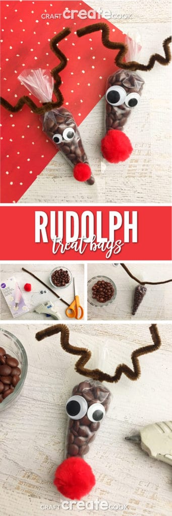 These Rudolph Treat Bags are filled with yummy chocolates and look like reindeer, now that's festive.