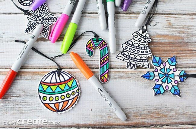These color your own ornaments are a great Christmas project, or package them with some markers and give them as a gift!