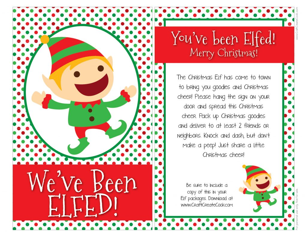 image about You've Been Elfed Free Printable called Craft Develop Cook dinner - Youve Been Elfed with Free of charge Printable