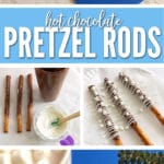 These Hot Chocolate Pretzel Rods taste just like a cup of hot chocolate with marshmallows.